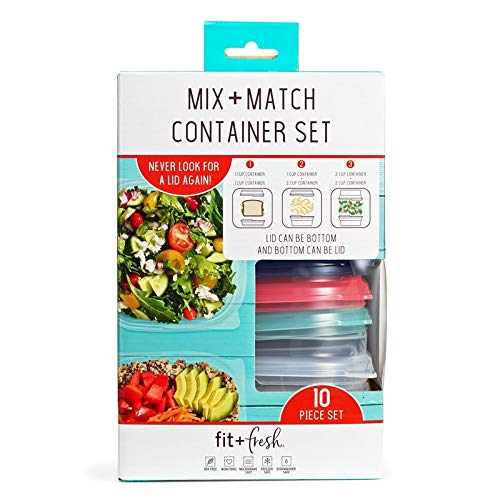 Fit Match - Mix & Match 10 Piece Container Set by Fit & Fresh, Space-Saving Containers with Interchangeable Tops and Bottoms, Multicolored