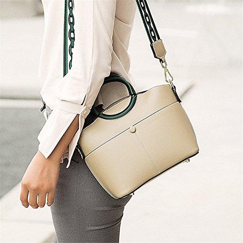 Asdflina Portable Simple Rétro Pick Up Panier Type PU Sac à bandoulière Messenger Bag, Beige Convient pour Un Usage Quotidien