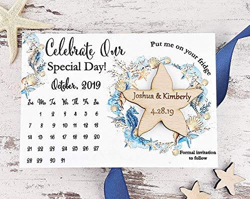 Starfish Save The Date Magnet, Calendar Wedding Save The Date Card, Rustic Save The Date, Wooden Starfish Magnet - SET OF 20 -
