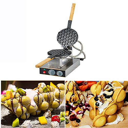 Electric Egg Cake Oven Puff Bread Maker, Stainless Steel Waffle Non-Stick Bake Machine,110V by Vicolife