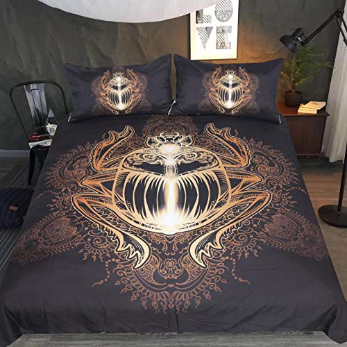 (Sleepwish Mandala Insect Bedding Egyptian Scarab Beetle Inspired Duvet Cover Set 3 Piece Ugly Animal Black and Gold Glitter Gothic Bed Set (Queen))