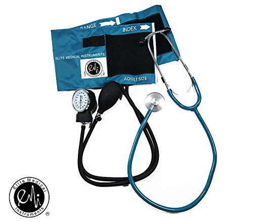 EMI TEAL # 300 Deluxe Aneroid Sphygmomanometer Blood Pressure Monitor Set with Adult Cuff and Carrying Case and Includes Basic Stethoscope by Elite Medical Instruments