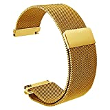 Gold Watch Band 20mm Magnetic Milanese Loop Stainless Steel Magnet Closure Lock, Bracelet Strap
