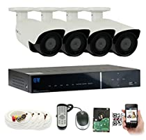GW Security 4-Channel HD-TVI 1080P Complete Security System with (4) x True HD 1080P Outdoor / Indoor Bullet Security Cameras and 1TB HDD, QR Code Scan Free Remote View