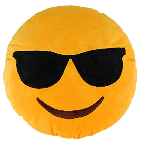 2016 Popular Emoji Gift Smiley Cool Sunglasses Emoticon Birthday Party Stuffed Cushion Home Decorative Plush Pillow Soft ()