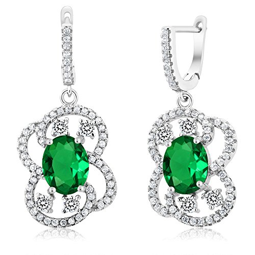 599-Ct-Oval-Green-Simulated-Emerald-925-Sterling-Silver-Flower-Earrings