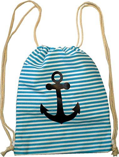 Sacchetto zaino borsa da donna Hipster da uomo turchese a righe Turn sacchetto Sacca marinaio Tessuto sacchetto sacchetto Bambini Gym tela–Anker 4738