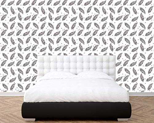 (Removable Peel and Stick Wallpaper, Line Shaped Pen with Points Theme Style Wallpaper Mural, Removable for Interior Design, Decor you walls for any occasion (R40))
