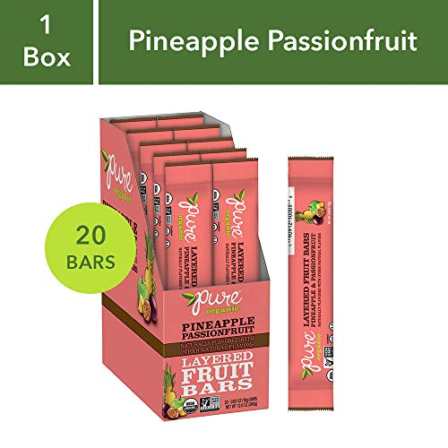 (Pure Organic Pineapple Passionfruit Layered Fruit Bar, Certified Organic, Gluten-Free, Non-GMO, Vegan, Kosher, Peanut Free, No Artificial Ingredients, Fruit Snack, 0.63 ounce (Pack of 20))