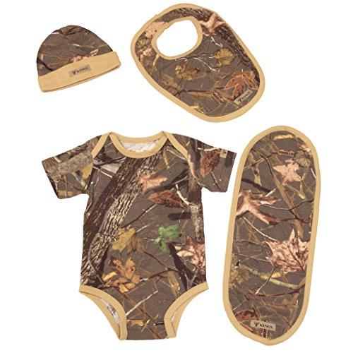 King's Camo Infant 4-Piece Set - Bodysuit, Beanie, Bib, Burp Cloth,12M