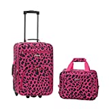 Rockland 2 PC MAGENTALEOPARD LUGGAGE SET