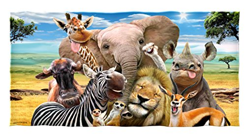 Dawhud Direct Safari Animals Selfie Cotton Beach Towel (Beach Elephant)