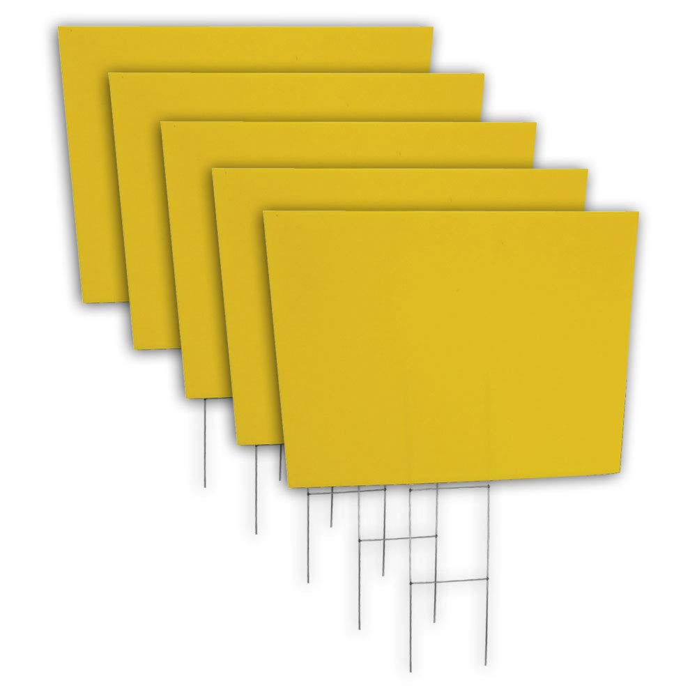 Box of 5 quantity blank yellow yard signs 18x24 with h stakes for garage sale signs for rent open house estate sale now hiring or political lawn signs