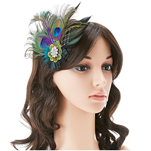 QNPRT 1920s Gatsby Roaring 20s Flapper Headband Peacock Feather Bridal Hair Fascinator Headpiece Alligator Clip(2)