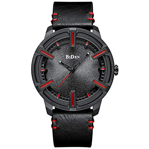 - Mens Watches Waterproof Minimalist Luxury Leather Wrist Watch for Men Gents Business Casual Fashion Simple Dress Analogue Quartz Watches Black Gifts for Men