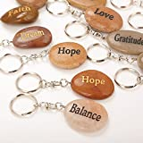 Engraved Stones, Set of 24, Coin Charm Keyrings Keychain, Natural River Rock Pendant Inspirational Faith Stone Key chain Excellent Assorted Mixed Lot, Different Words Engraving (24 PCS) by Rock Impact