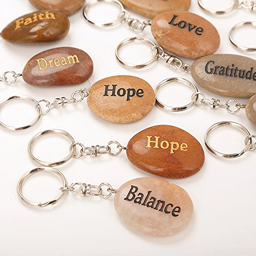 Engraved Stones, Set of 24, Coin Charm Keyrings Keychain, Natural River Rock Pendant Inspirational Faith Stone Key chain Excellent Assorted Mixed Lot, Different Words Engraving (24 PCS) by Rock Impact by Rock Impact