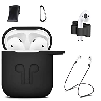 ICETEK AirPods Case Cover, Silicone AirPods Case Protective 7 In 1 AirPods  Accessories Set with Clip Holder/Keychain/Strap/Ear hooks/Soft Storage Bag
