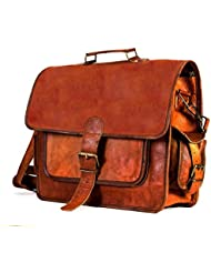 HLC Vintage Leather Laptop Bag 15 Messenger Handmade Briefcase Crossbody Shoulder Bag