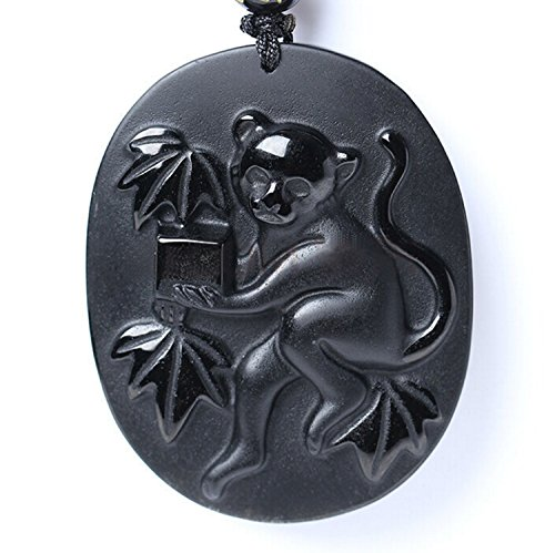 (Monkey Zodiac Necklace Pendant Made of Obsidian Gemstone (Monkey-Bright))