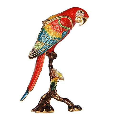 Macaw Parrot Trinket Box Enamelled Hinged Jewelry Box Pewter Ornament Gifts Bird Figurine Tabletop