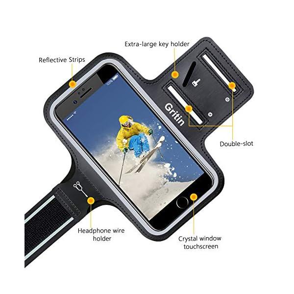 Gritin Brassard de Sport, Universel Brassard de Course pour iPhone 12/12 Pro/Se 2020/11/11 Pro/XR/X/8/7/6 Plus Jusqu'à 6…