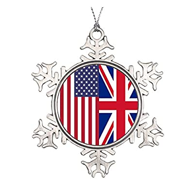 Union Jack And United States of America Flags Ceramic Round Christmas Ornament