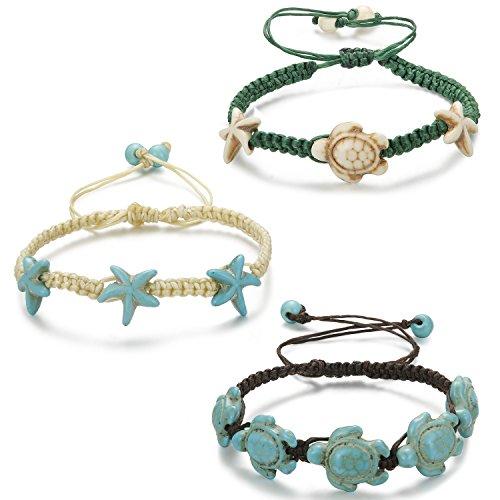 LOYALLOOK 3pcs Assorted Turtle Bracelet Hawaiian Sea Turtle Starfish Bracelet Handmade Bracelet (Style D)