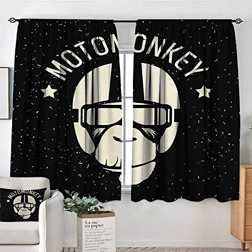 Outer Space Blackout Window Curtain Sign Alien Monkey with Astronaut Costume in a Galaxy with Stars Poster Blackout Draperies for Bedroom 72
