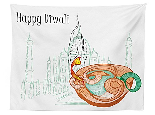 vipsung Diwali Decor Tablecloth Abstract Palace Taj Mahal like Sketch with Modern Festive Fire Candles Print Dining Room Kitchen Rectangular Table Cover Multicolored