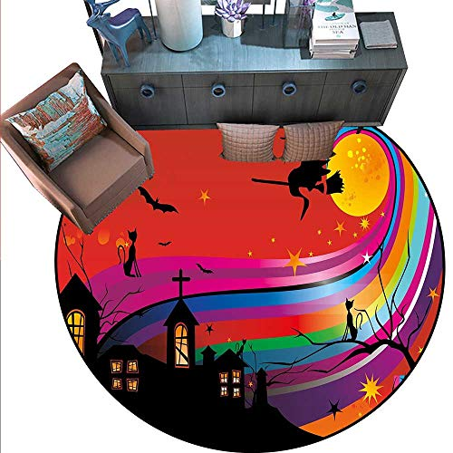 Halloween Round Area Rug Carpet Witch Woman on Broomstick Bats Cat Stars Rainbow Moon Castle Abstract Colorful Anti-Skid Area Rug (6'6