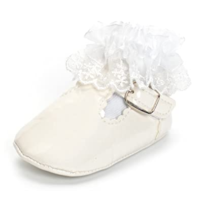 905a141d6e5d0 Estamico Baby Girls White Baptism Christening Shoe and Lace Socks ...