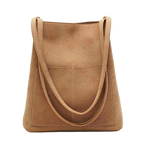 Suede Leather Hobo - Bucket Bag Suede Leather Womens Handbags Purse Tote Hobo Shoulder Bags