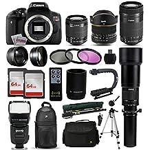 "Canon EOS Rebel T6i DSLR Digital Camera + 18-55mm IS STM + 6.5mm Fisheye + 55-250 IS STM + 650-2600mm Lens + Filters + 128GB Memory + i-TTL Autofocus Flash + Backpack + Case + 70"" Tripod + 67"" Monopod"