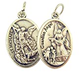 Silver Toned Base Saint Michael with Guardian Angel Medal, 1 Inch, Set of 2