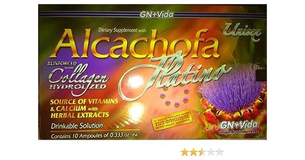 ... 1 Caja Alcachofa Platino Con 10 Ampolletas Vidrio / Reforced with Collagen Hydrolized / Reforzada Con Colageno Hidrolizado: Health & Personal Care