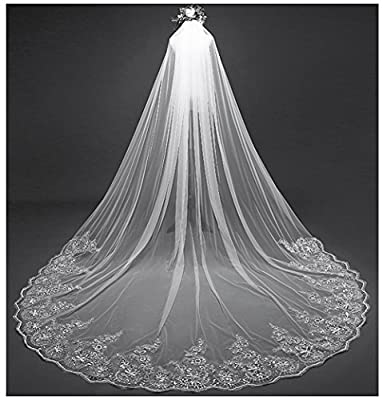 AIBIYI Women's Long Veil Sequins Lace (300cm) Cathedral Bridal Veil with Comb ABY-V42