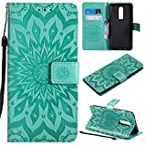 OnePlus 6 Case Emboss Sun Flower PU Leather Wallet ID & Credit Card Slots Magnetic Folio Cover (OnePlus 6, Green)