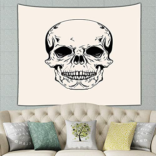 best bags Hand Drawn Sketch Skull Tattoo Line Vintage Tapestry Wall Hanging, Hippie Sunset Forest Tapestry, Wall Art Decoration for Bedroom Living Room Dorm, Window Curtain Picnic Mat 60 X 40 Inches ()