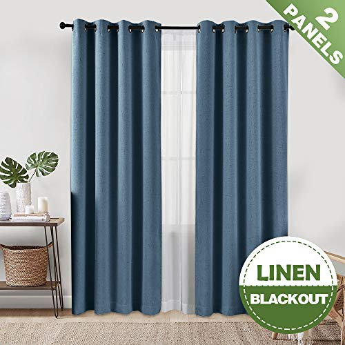ECODECOR Linen Blue Blackout Curtains for Bedroom, 84