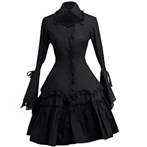 Patiss Women's Cotton Black Ruffles Cosplay Lolita One-Piece Dress,M,Black