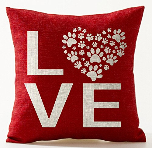 Queens designer Best Gifts For Lover Sweet Letters Sweetheart Love Dog Paw Prints In Red Valentines Day Courtship Cotton Linen Decorative Throw Pillow Case Cushion Cover Square 18X18