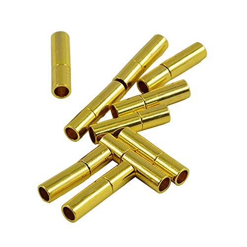 Homyl Beads Strong Cylinder Bayonet Push Clasps Brass Cord Ends for 3mm Round Leather Cord Buckle Mating Connectors Gold Plated Silver Tone Jewelry Findings Clasps Pack of 10 - Gold (Cylinder Bead Silver)