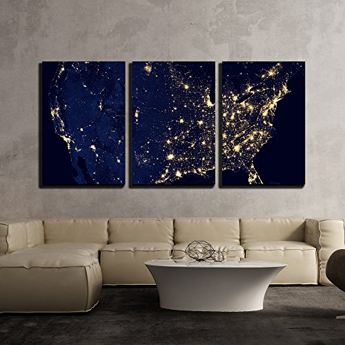 Wall26   3 Piece Canvas Wall Art   Usa Territory With Different Time Zones   Modern Home Decor Stretched And Framed Ready To Hang   24 X36 X3 Panels