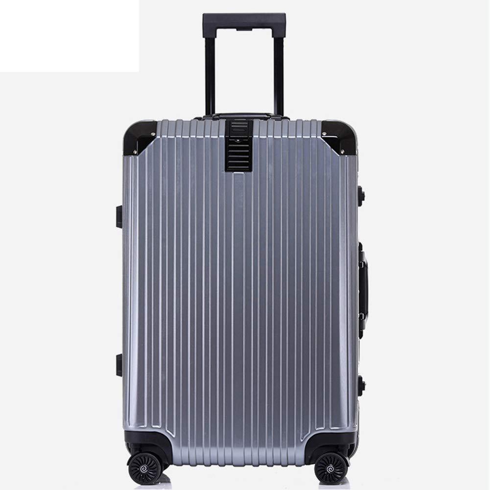 トロリースーツケース、スタイリッシュな個性大容量トロリーケース、360°ミュートキャスター付き荷物(シルバーグレー) 48*27*76CM  B07Q4CG8Y1