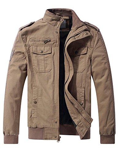 WenVen Men's Casual Cotton Military Jacket (Khaki, XX-Large) - Khaki Cotton Jacket