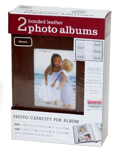 (2 Deluxe Handcrafted Bonded Leather Photo Albums - each holds 300 4 x 6 or 100 5 x 7 Photos)