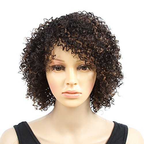 or Black Women Short Jerry Kinky Curly Human Hair Wigs For Women Soft Fluffy None Lace Highlight Brown/Black Wigs (10