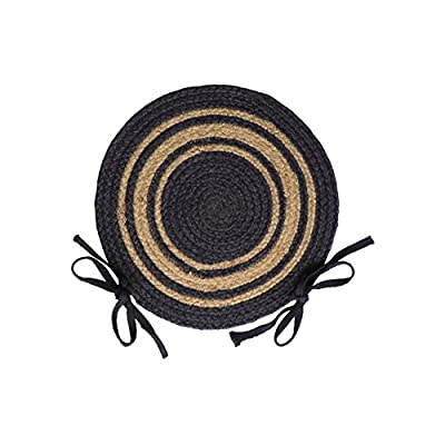 IHF Home Decor Grayson Jute Braided Chair Cover Round Rug, 15 Inch, Set of 4: Home & Kitchen