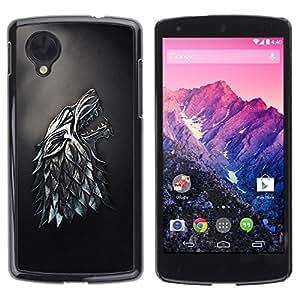 Be Good Phone Accessory // Dura Cáscara cubierta Protectora Caso Carcasa Funda de Protección para LG Google Nexus 5 D820 D821 // Metal Wolf